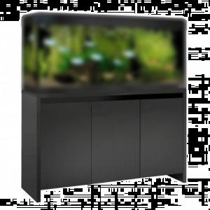 Meuble-satiné-noir-avec-bandeau-laqué-noir-Roma-240-complet