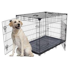 Cage-grillagée-d'intérieur-chien-avec-bac-de-récupération-L-107-x-71-x-79-cm-Lucky-Dog-suggestion-de-présentation