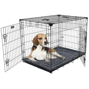 Cage-grillagée-d'intérieur-chien-avec-bac-de-récupération-M/L-91-x-61-x-69-cm-Lucky-Dog-avec-chien
