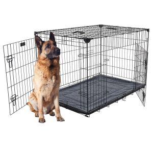 Cage-grillagée-d'intérieur-et-de-transport-chien-X-Large-122-x-76-x-84-cm-Lucky-Dog-avec-chien