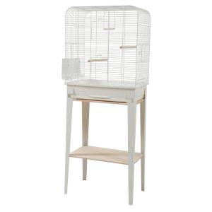 Cage-grillagée-oiseaux-avec-meuble-Loft-blanche-taille-L---Zolux-profil