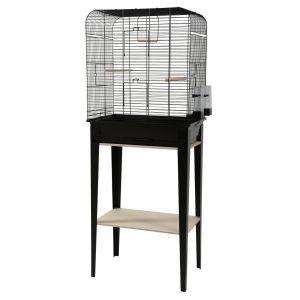 Cage-grillagée-oiseaux-avec-meuble-Loft-noire-taille-L---Zolux-profil