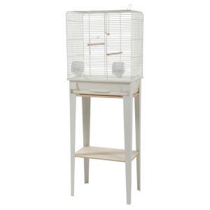Cage-avec-meuble-oiseaux-Loft-blanche-taille-M---Zolux-profil