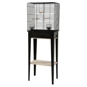 Cage-avec-meuble-oiseaux-Loft-noire-taille-M---Zolux-profil
