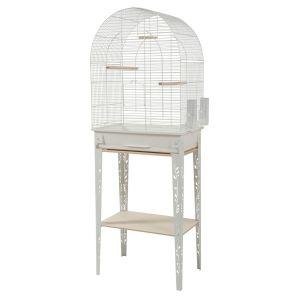 Cage-grillagée-oiseaux-avec-meuble-Patio-blanche-taille-L---Zolux-profil