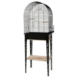Cage-grillagée-oiseaux-avec-meuble-Patio-noire-taille-L---Zolux-profil