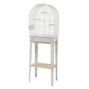 Cage-grillagée-oiseaux-avec-meuble-Patio-blanche-taille-M---Zolux-profil