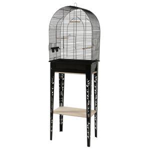 Cage-grillagée-oiseaux-avec-meuble-Patio-noire-taille-M---Zolux-profil