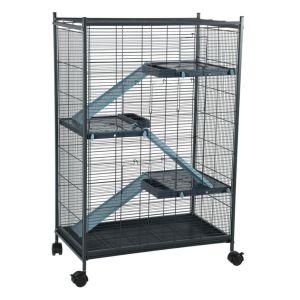 Cage-grillagée-rongeur-Indoor-2-Maxi-Loft-bleu---Zolux-profil