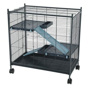 Cage grillagée rongeur Indoor 2 Mini Loft bleue - Zolux profil