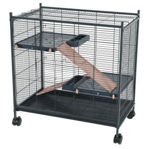 Cage grillagée rongeur Indoor 2 Mini Loft rose - Zolux profil
