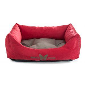 Corbeille-Domino-Suedine-110x85cm-Rouge-et-Grise---Martin-Sellier