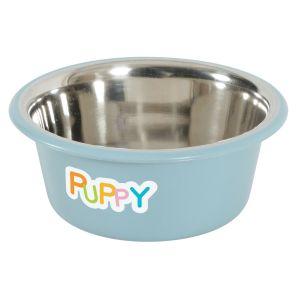 Gamelle antidérapante en inox pour chiot et chat Puppy Bleu - Zolux