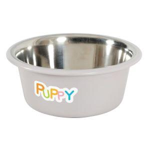 Ecuelle inox antidérapante Puppy Taupe 850 ML - Zolux