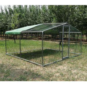 Grand-parc-grillagé-enclos-poulailler-avec-tubes-renforcés-4x4x2,25m-profil-avant-gauche