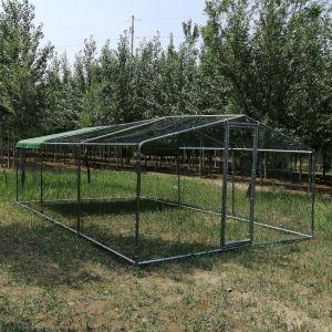 Grand parc grillagé enclos poulailler avec tubes renforcés 3x6x2,25m profil face avant
