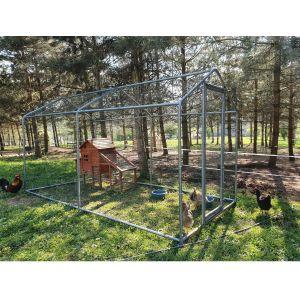 Grand parc grillagé enclos poulailler avec tubes renforcés 2x4x2,25m côté