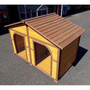 Niche chien double XXL toit bois profil et toit