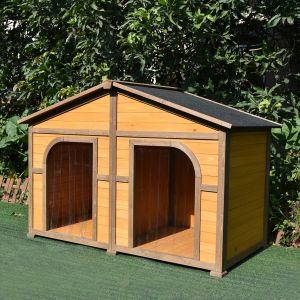 Niche chien Double XXL toit shingle noir vue de profil