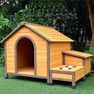 Niche pour chien Harrier avec gamelles et coffre toit bois taille M