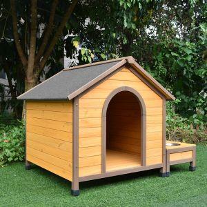 Niche pour chien Harrier avec gamelles et coffre toit shingle taille M profil