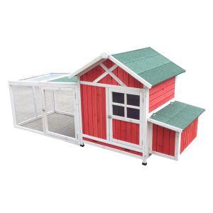 Poulailler Caussade toit shingle vert 2 à 6 poules avec extension parc grillagé