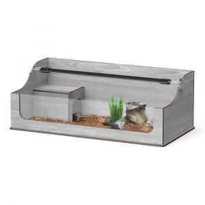 Terrarium tortues Terra Tortum 75 frêne gris avec rampe à LED en option
