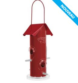 Mangeoire silo rouge pour oiseaux de jardin