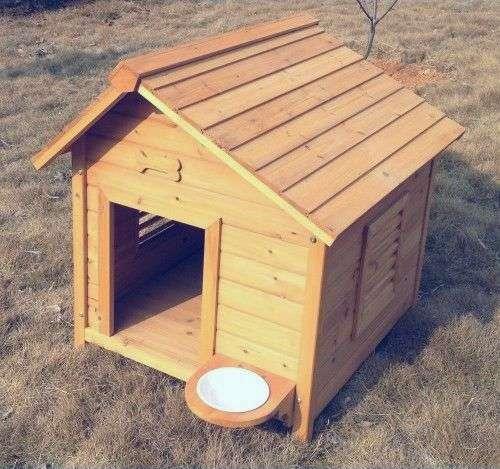 Niche en bois pour chien avec support gamelle